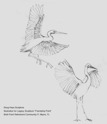public art crane birds