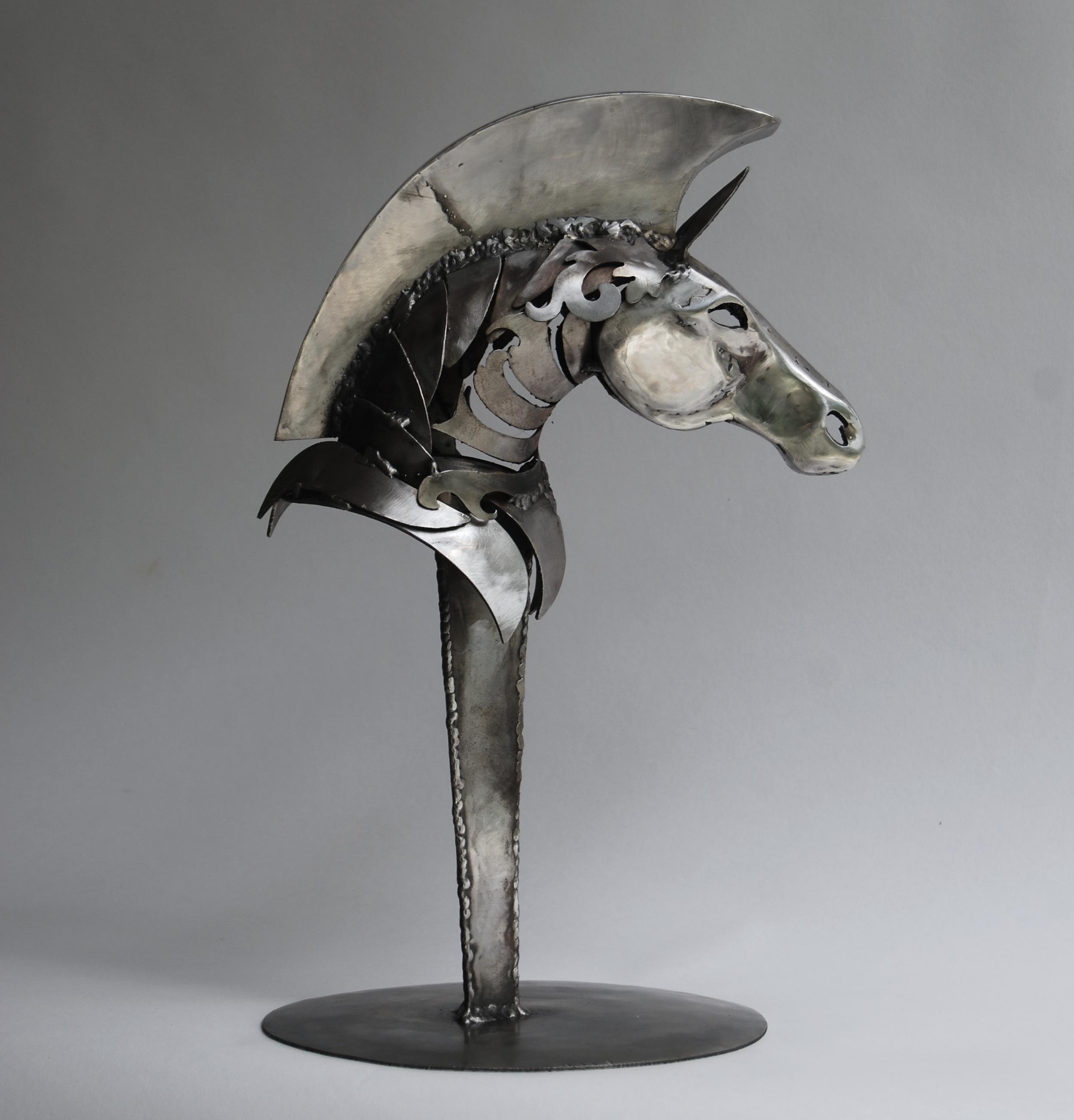 Trojan Horse Sculpture Polished Stainless Approx 11 W X 15 H X 14 D Wildlife Sculpture Public Art Site Specific Metal Art
