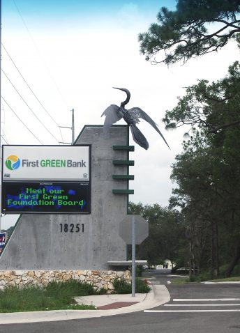 first green bank florida metal bird sculpture