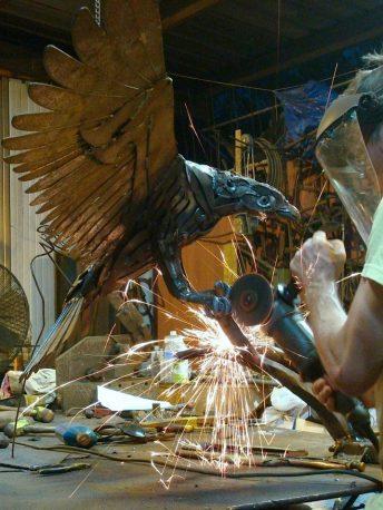 bird sculpture process photo