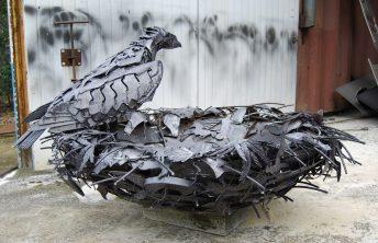 metal bird sculpture process photo doug hays
