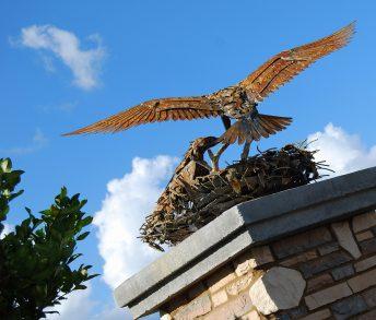 steel bird sculpture osprey