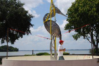 bird sculpture public art installation