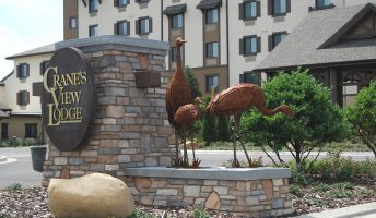 crane bird sculpture public art