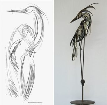 heron sculpture concept sketch