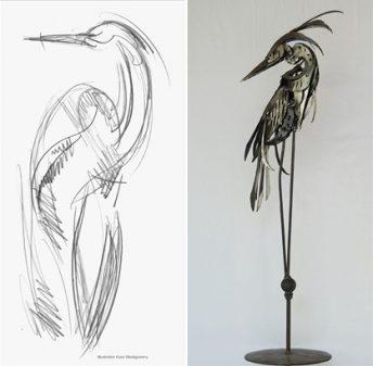heron sculpture concept sketch