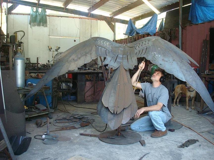 corporate-art-1-Anhinga-metal-bird-sculpture-Doug-Hays