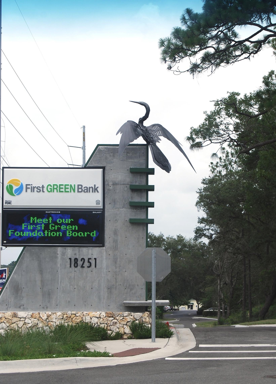 Corporate Art Anhinga Metal Bird Sculpture First Green Bank