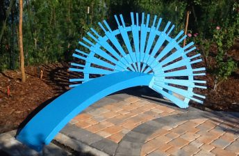 corporate art bench blue
