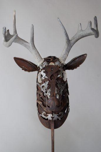 metal deer sculpture