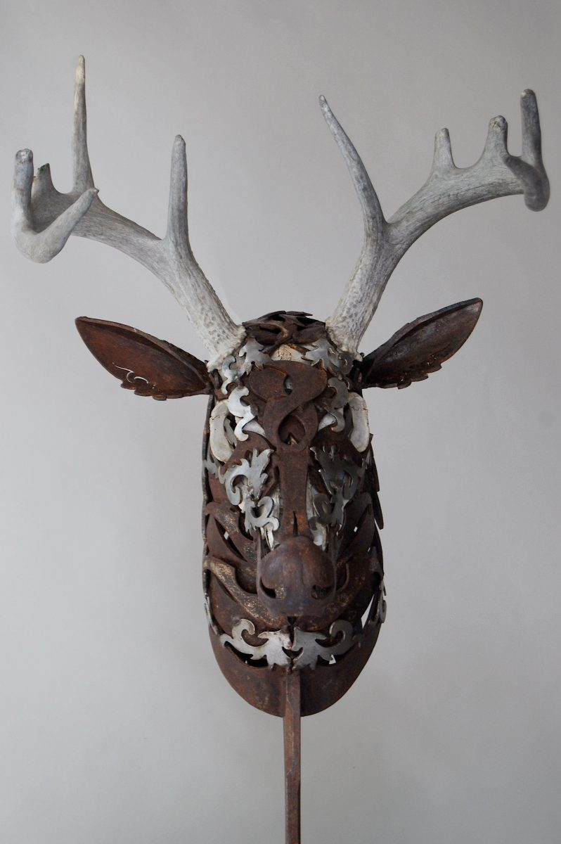rustic metal deer sculpture doug hays