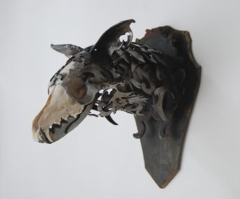 wildlife sculpture fox skull
