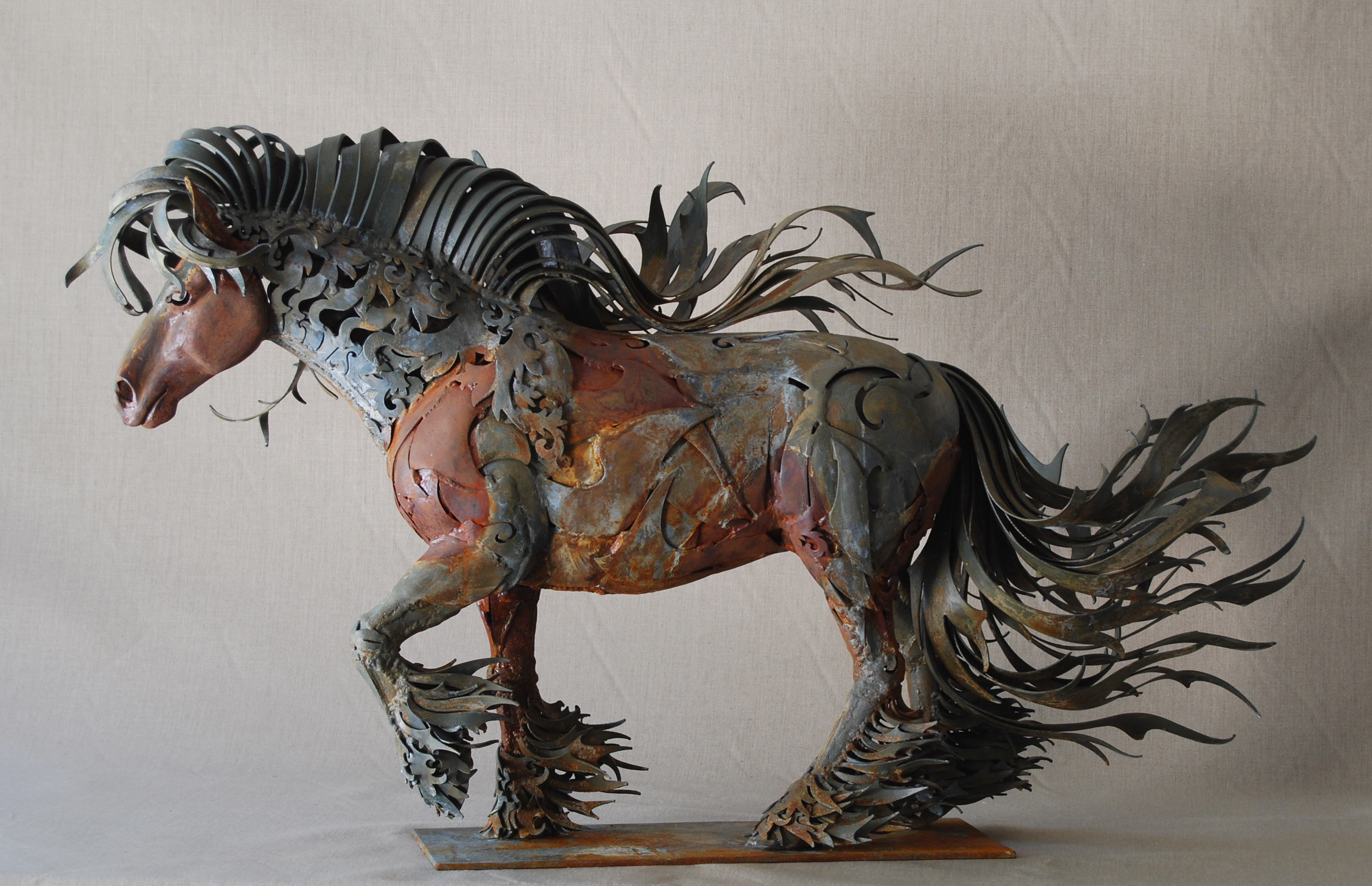 Metal horse art sculpture by florida artist doug hays