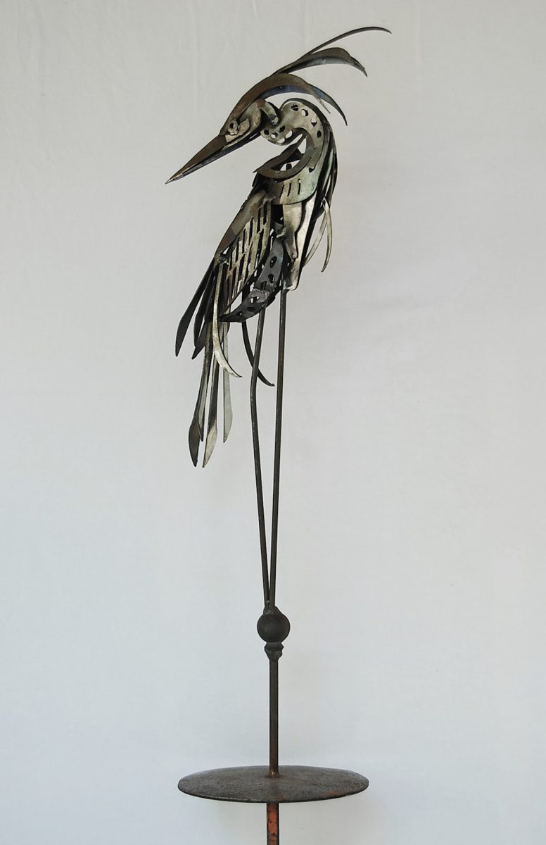metal heron sculpture bird art