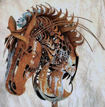 horse art metal statue
