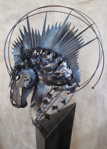 horse art blue metal sculpture