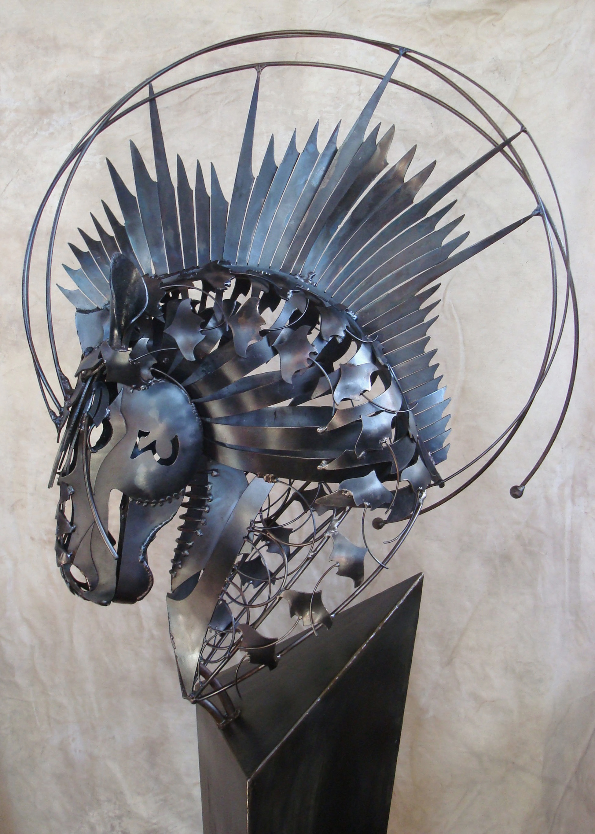 Entry Way Furniture Metal Horse Art Sculpture By Florida Artist Doug Hays
