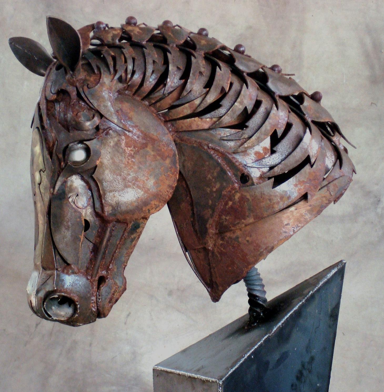 metal horse head statue art