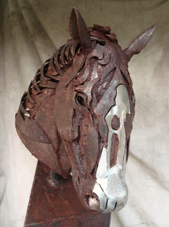 metal horse head statue