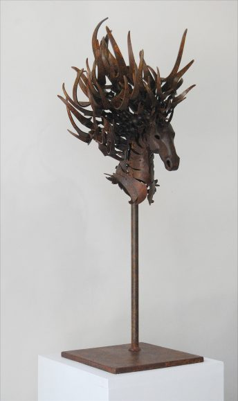 metal horse head art