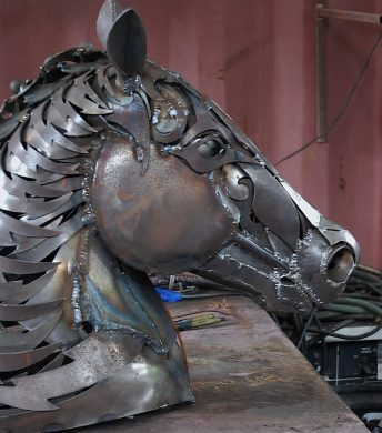 metal horse head sculpture
