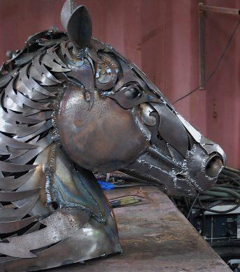 metal horse head sculpture