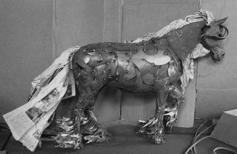 metal horse sculpture preliminary sketch