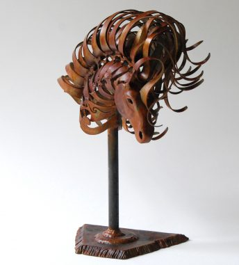 small horse head sculpture