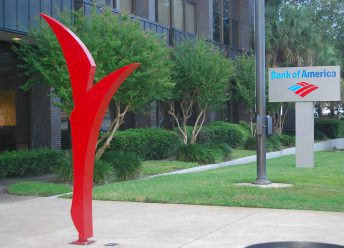modern red sculpture corporate art doug hays