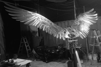 large scale sculpture progress photo osprey bird