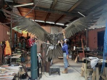 osprey sculpture progress photo in studio doug hays