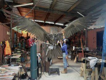 osprey sculpture progress photo in studio doug hays