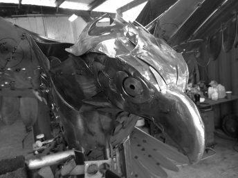 osprey sculpture head progress photo