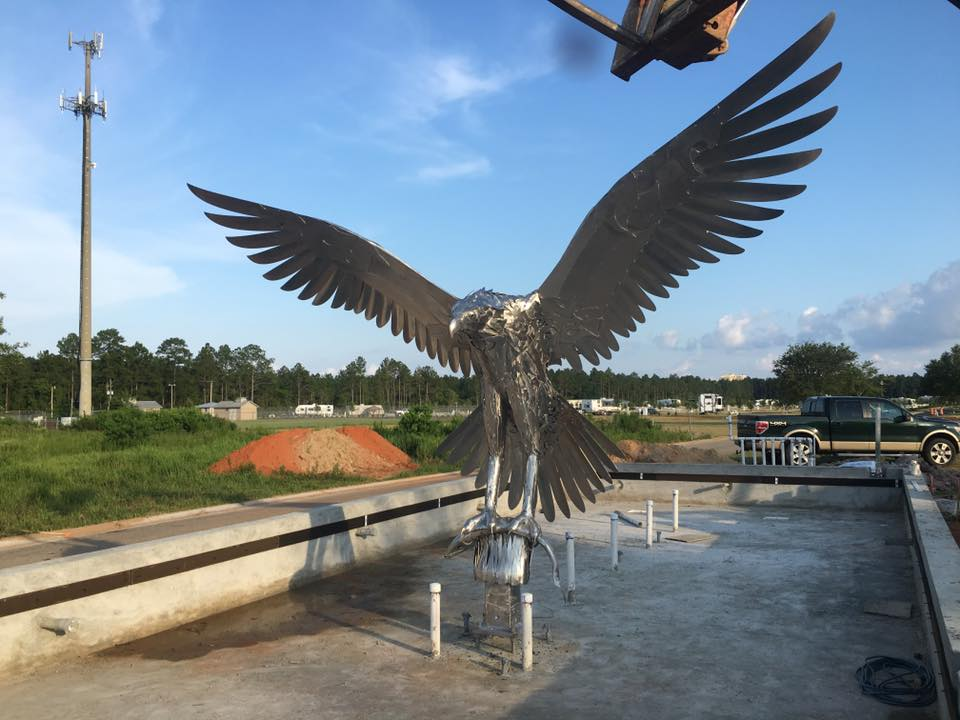 Osprey Metal Sculpture, public and corporate art by Doug Hays