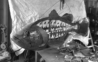Florida bigmouth bass sculpture