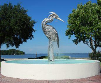 public art stainless bird sculpture