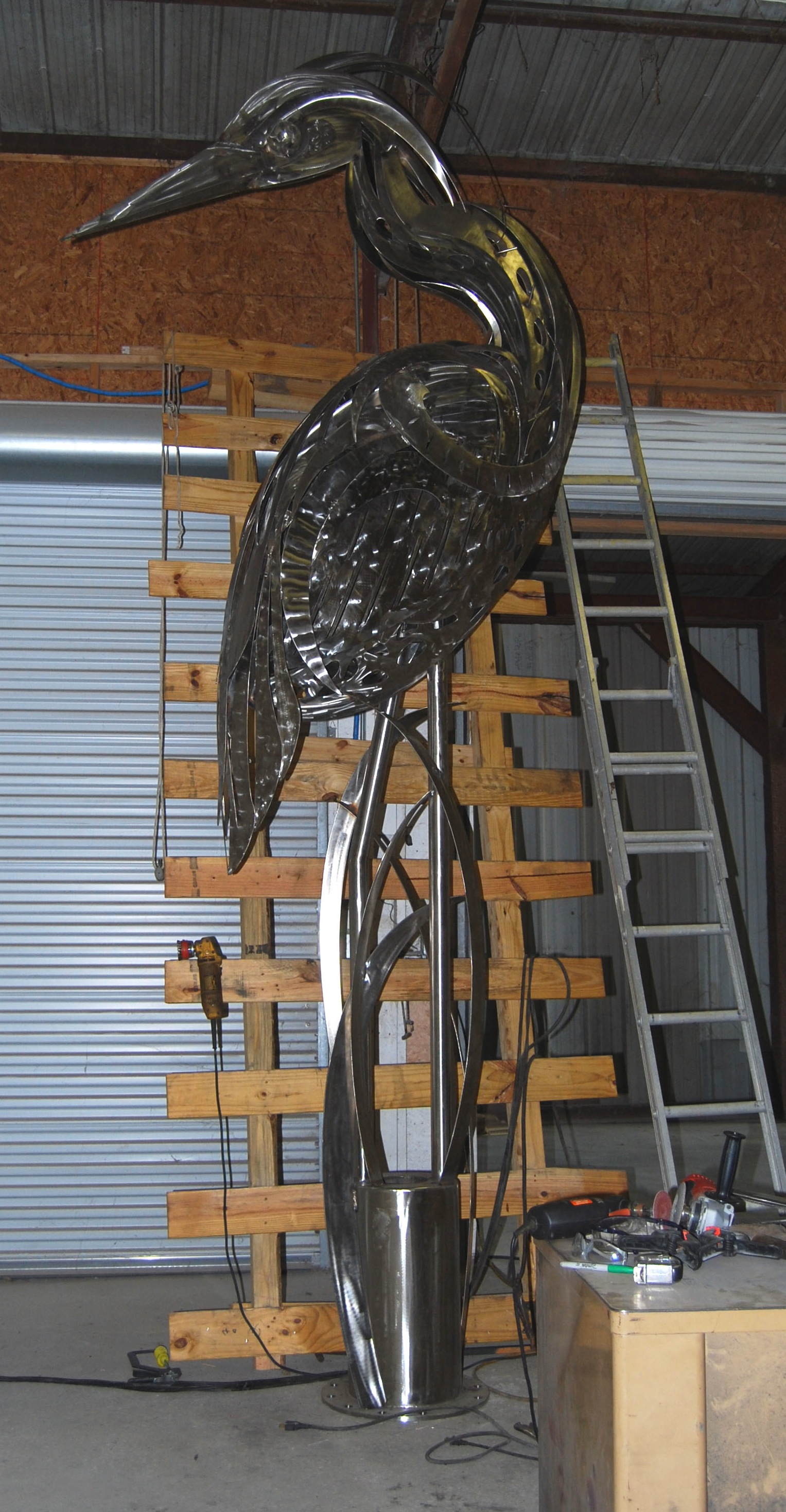 Heron Sculpture Created By Doug Hays For City Of Eustis