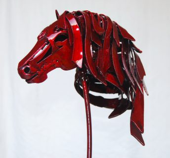little red horse sculpture