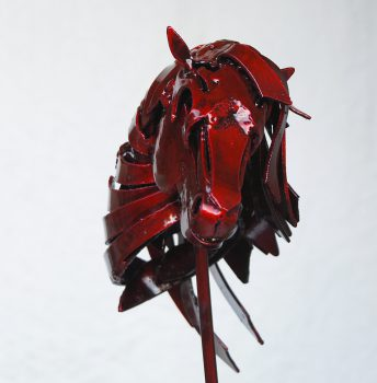 red horse head sculpture